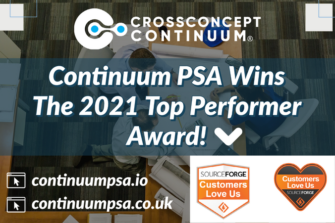 Continuum PSA Wins The 2021 Top Performer Award in Professional Services Automation!