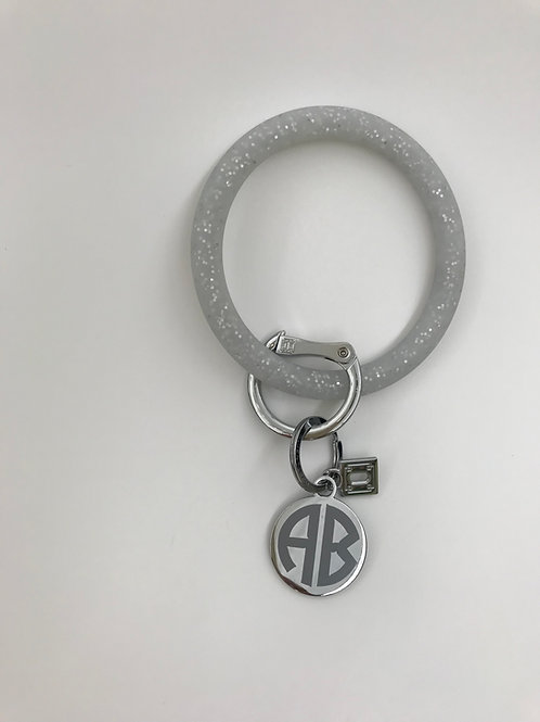 Big O Silicone Key Ring in Silver Confetti with Personalized Charm