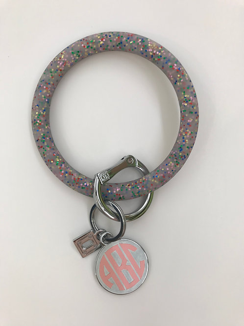 Big O Silicone Key Ring in Rainbow Confetti with Personalized Charm