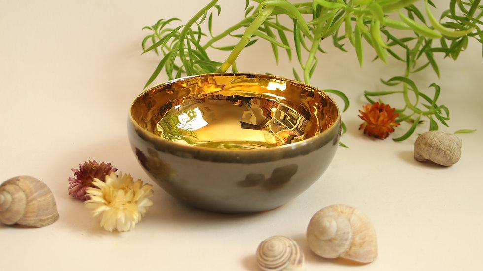 """Müsli Schale """"Shiny Gold"""" dunkles Olivgrün"""