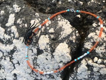 Sommerkette aus Karneol, Türkis und Perlchen