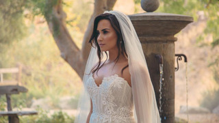 Demi Lovato in a Lazaro Wedding dress