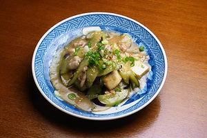 なすと豆腐の味噌炒め