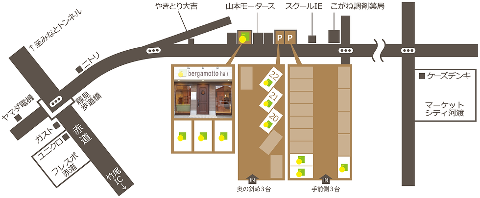 新潟市東区(新潟県)の美容室『bergamotto hair(ベルガモットヘア)』の地図