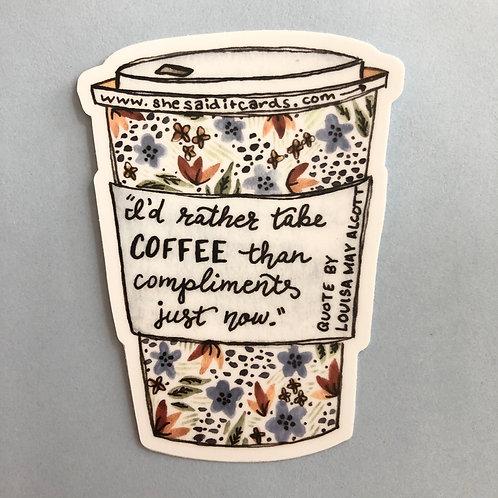 Louisa May Alcott Coffee Sticker