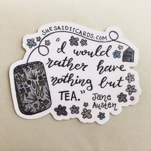 Jane Austen Tea Sticker