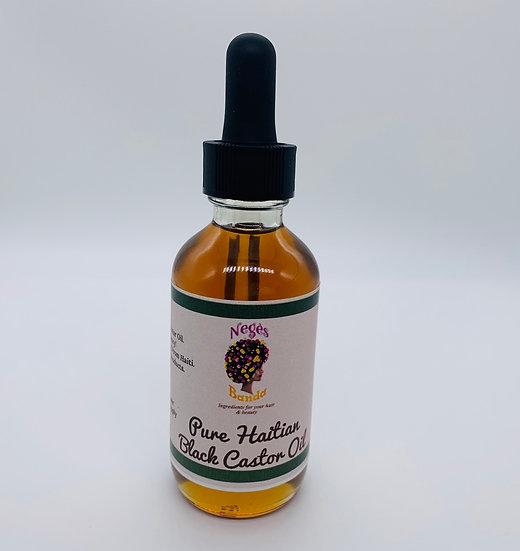 Pure Haitian black castor oil 2 oz (clear glass bottle)