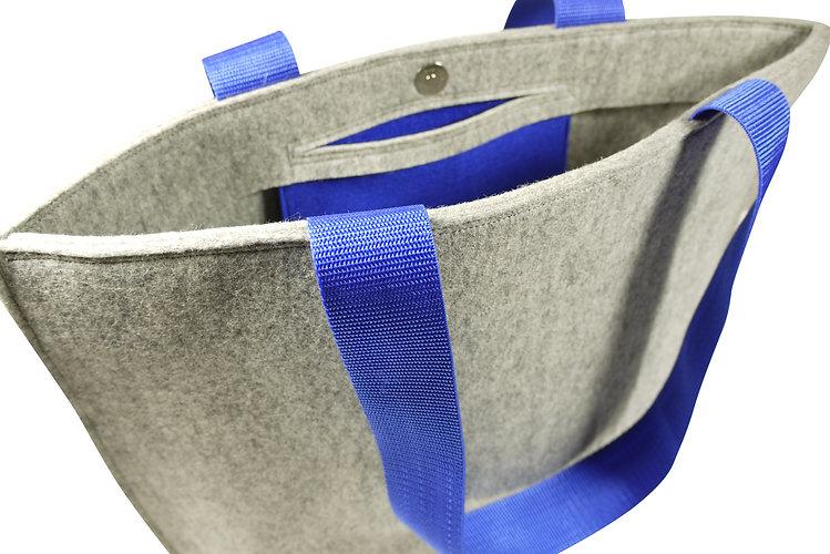 Tas TOTE grijs blauw