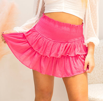 Meet Me In The Middle Skirt In Hot Pink