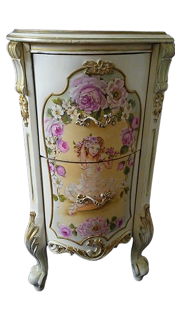 Elegant French Nightstand Table Lace