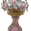 Thumbnail: Gorgeous Blush Pink Frosted Glass Perfume Bottle Flower Basket Top
