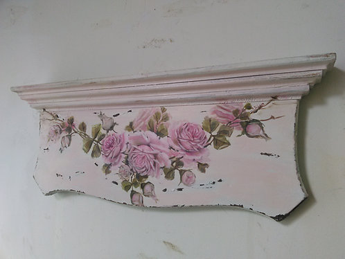 OMG Original Rose Painting Shabby Chic Old Architectural Wall Header Pink Roses