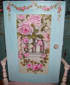 Vintage French Blue Medicine Cabinet