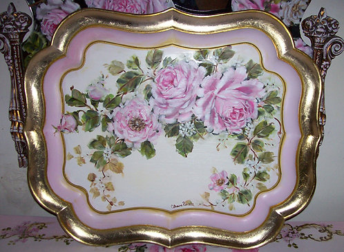 Vintage Florentine Ornate Pink and Gold Tray