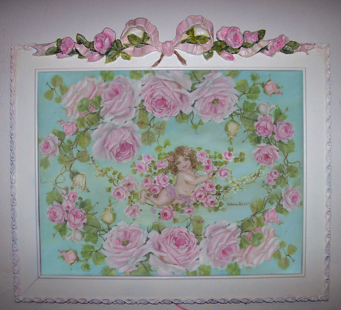 Under The Rose Arbor Aqua Print in Romantic Wood Frame