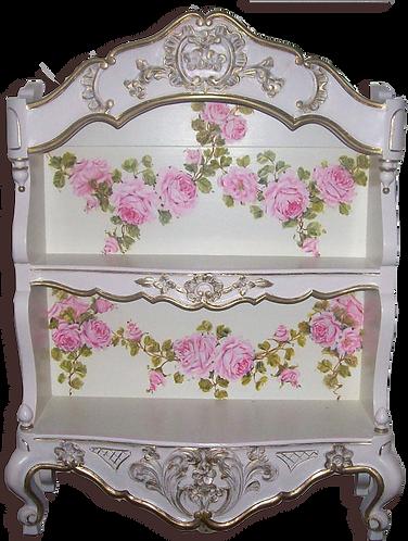 Antique Fancy Blush Pink Display Wall Shelf