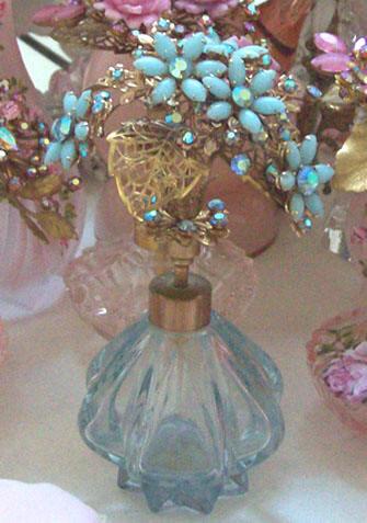Gorgeous Light Blue Glass Perfume Bottle