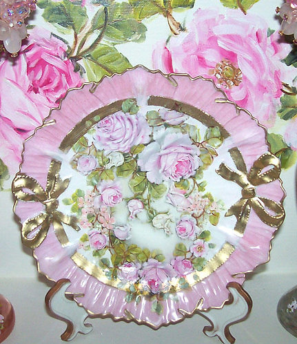 Antique Pink Porcelain Ribbons Display Plate