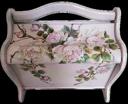 Original Rose Painting Vintage Blush Pink Wooden Sewing Basket