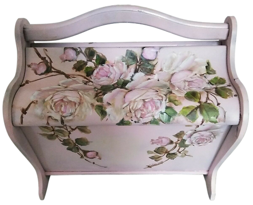 Original Rose Painting Vintage Blush Pink Wooden Sewing Basket