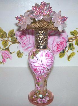 Gorgeous Blush Pink Art Glass Iridescent Perfume Bottle