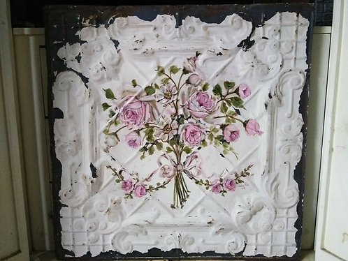 Original Pink Rose Painting Shabby Chic Antique Ceiling Tin Bouquet Garland