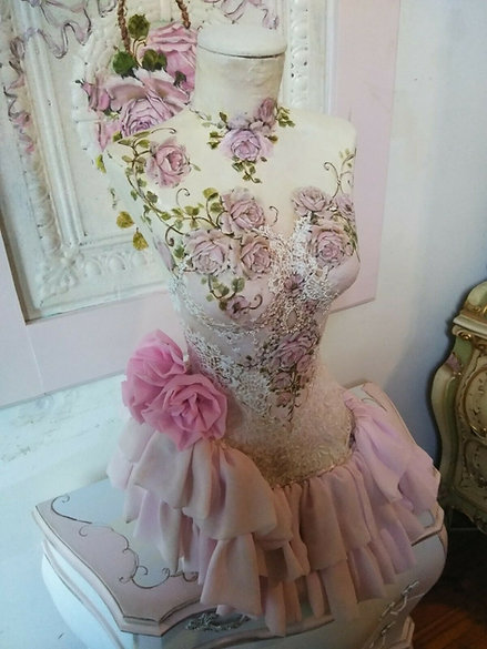 OMG Original Hand Painted Roses Mannequin Dress Form Blush Pink Lace Corset