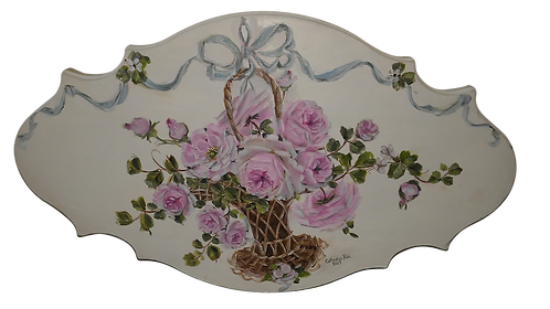Shabby Chic  Hand Painted Bow Rose Basket Plaque