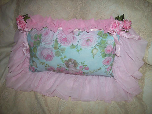 New Romantic Cherub and Roses Arbor Boudoir Pillow