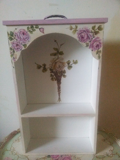 Beautiful Hand painted Pink Roses Shabby Chic Wall Display Shelf Cabinet