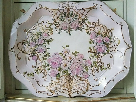 Original Rose Painting Shabby Chic Pink French Gilt Vintage Toleware Tray