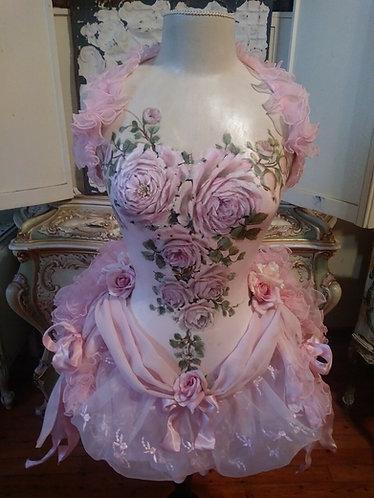 Original Pink Rose Painting Vintage Mannequin Dress Form Corset