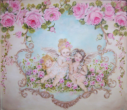"""Innocence"" Cherubs and Roses Canvas Print"