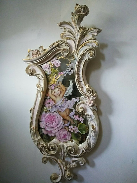 Original Roses and Cherub Painting Shabby Chic French Ornate Mirror L