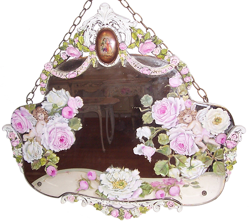 Antique Barbola Roses and Cherubs Mirror