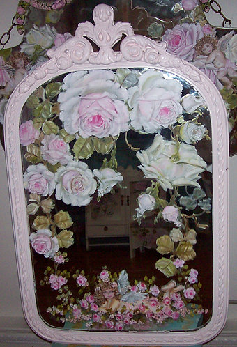 Gorgeous Antique Blush Pink Cherub and Roses Mirror