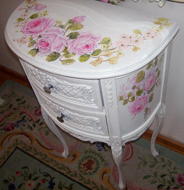 Vintage French Nightstand Demi Table
