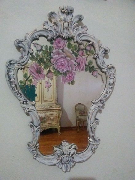 Original Rose Painting Shabby Chic Antique French Ornate Mirror
