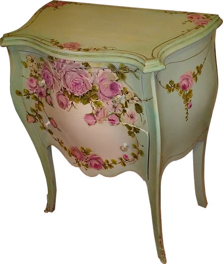 Gorgeous Vintage Bombay Aqua French Nightstand End Table