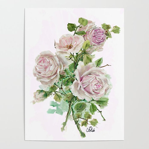 Dulce Blush Pink Rose Bouquet Watercolor Canvas