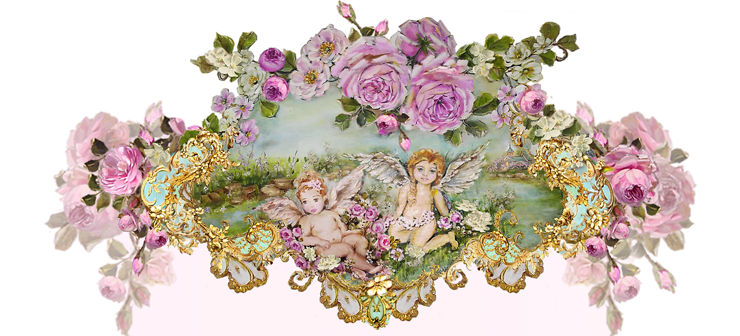 Hand Painted Roses and Cherubs Art