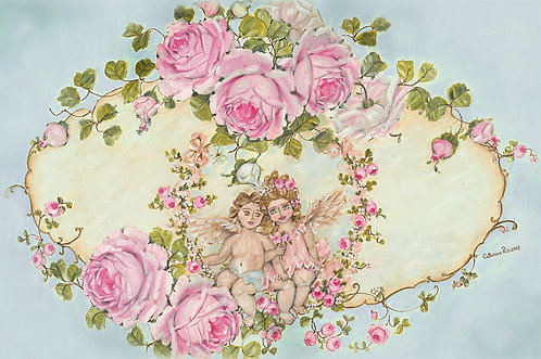 """Heavenly Love"" Romantic Cherubs and Roses Canvas Print"
