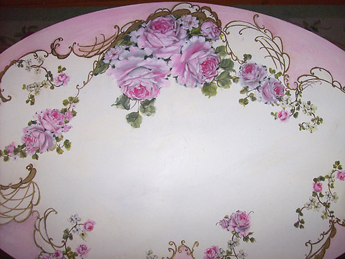 Gorgeous Antique French Fancy Scrolls  and Roses Blush Pink Coffee Table