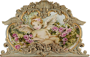Angel and Roses in trumeau Mirror Frame