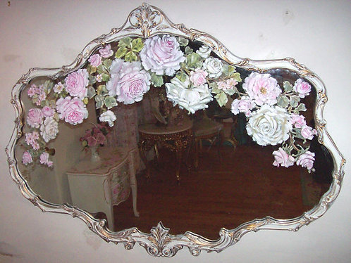 Antique French Fancy Large Mirror