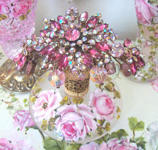 Gorgeous Vintage Pink Crystal  Perfume Bottle