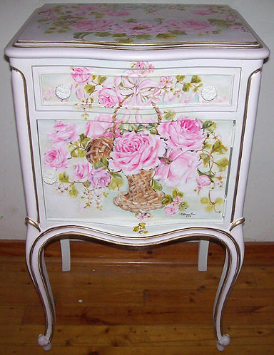 Antique French Rose Basket End Table
