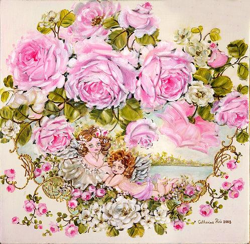 Sweet Surrender Cherubs and Roses Blush Canvas Print
