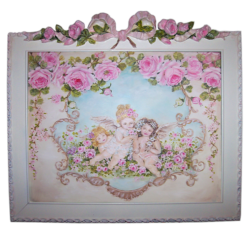 """""""Innocence"""" Cherubs and Roses Canvas Print in Romantic Wood Frame"""