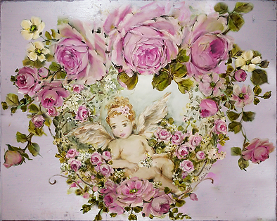 CATHERINE RISI ROSE PAINTINGS-CHERUB - B